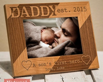 Dad & Son Personalized Picture Frame, Son's First Hero, Custom Daddy Frame Fathers Day 2020 From Boy