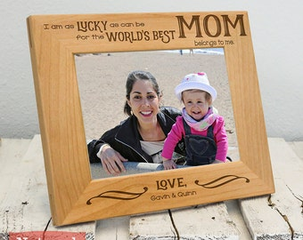 Personalized Worlds Best Mom Son Daughter Frame, Includes Names, Gift Box, Mothers Day Gift for Mommy from Children 2020, Cute, Thoughtful