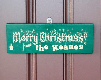 Christmas Decor0Personalized Christmas Door Sign, Merry Christmas Decoration, Christmas Welcome Sign, Family Name Sign, Winter Decoration