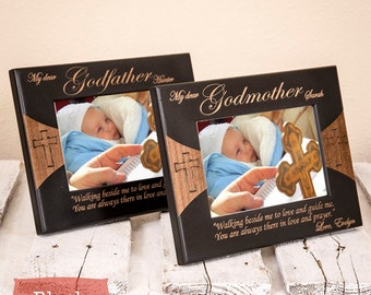 Personalized Picture Frames for Godparents - Godparents Gift Set - Godparents Frame - Gift for Godparents from Godchild - Godparents Gift
