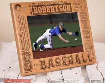 Personalized Baseball Picture Frame - Baseball Team Gift - Present for Baseball Player - Wood Picture Frame for Baseball Player - Athletic