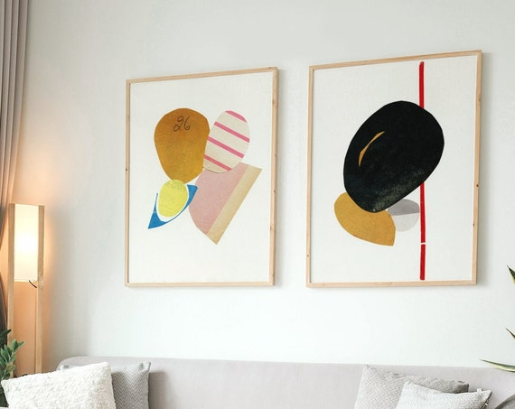Abstract Print Set of 2, Mid Century Modern Decor, Gallery Wall Set, Tan and Black Art - Abstract