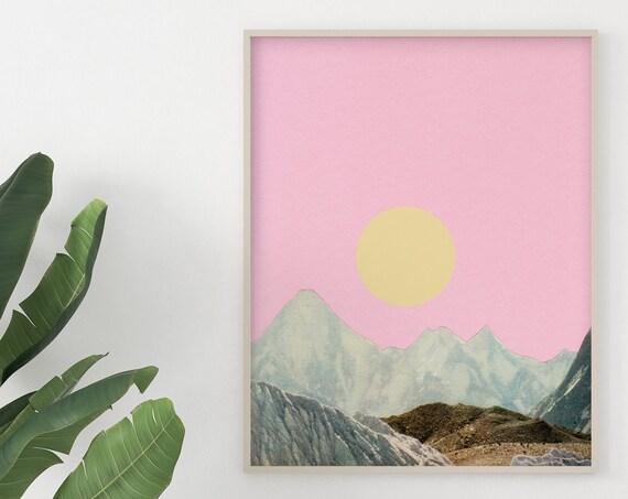 Mountain Wall Art, Pink Wall Art - Late Summer Sun