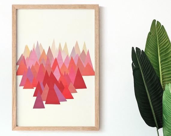 Abstract Mountain Wall Art, Landscape Print, Boho Decor - Indian Summer