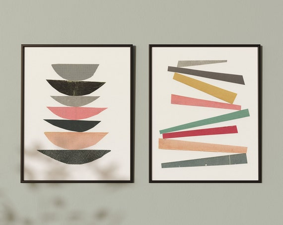 Abstract Print Set of 2, Mid Century Modern Decor, Gallery Wall Set, Pastel Prints - Structure