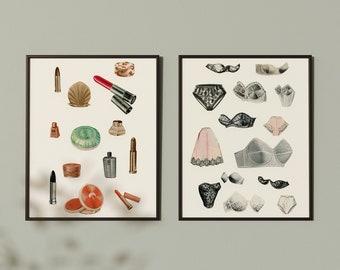 Retro Print Set, Teen Girl Bedroom Art, Bedroom Wall Art, Girly Gifts - Make Up and Lingerie