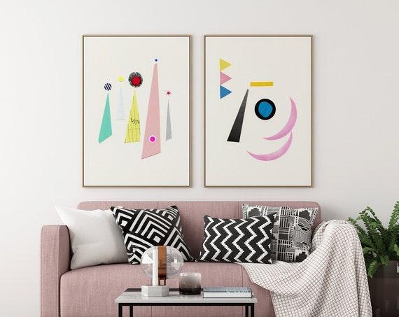 Abstract Print Set of 2, Mid Century Modern Art - Abstract