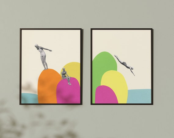 Retro Print Set, Anniversary Gift for Wife, Bathroom Wall Art - Summer