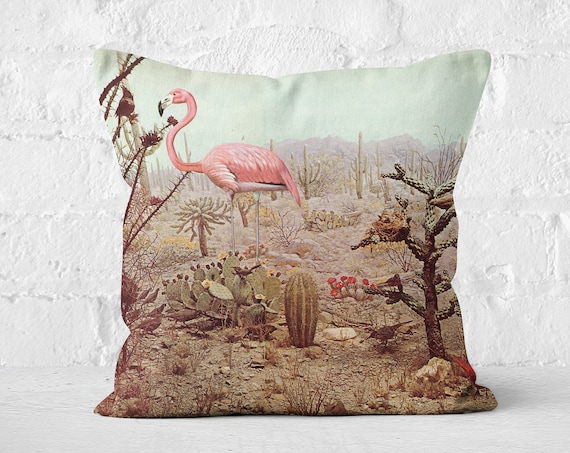 Velvet Cushion - Wild Flamingo