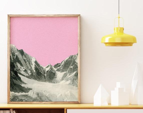 Mountain Wall Art, Landscape Print, Housewarming GIft - Pink Skies