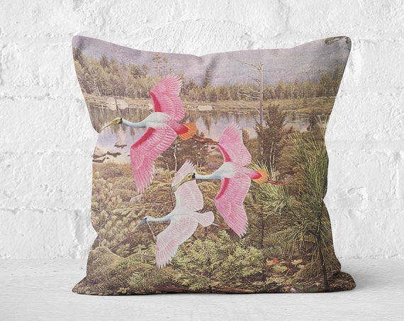 Velvet Cushion - Flight of the Spoonbills