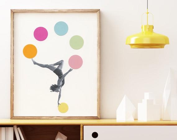 Gymnastics Print, Circus Art, Vintage Sports Art, Female Portrait - Gymnast