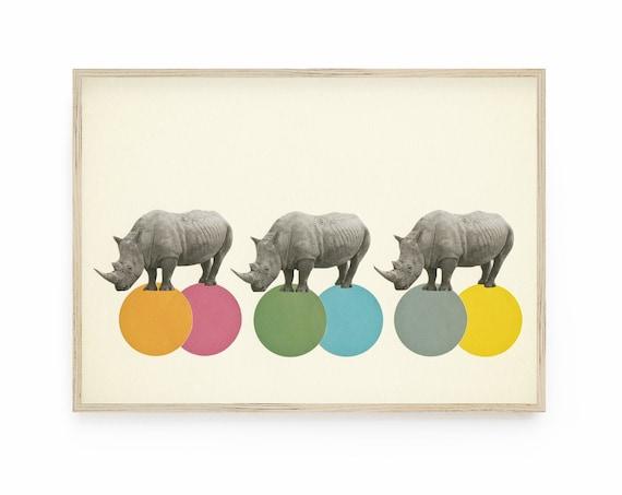 Rhino Art Print - Rambling Rhinos