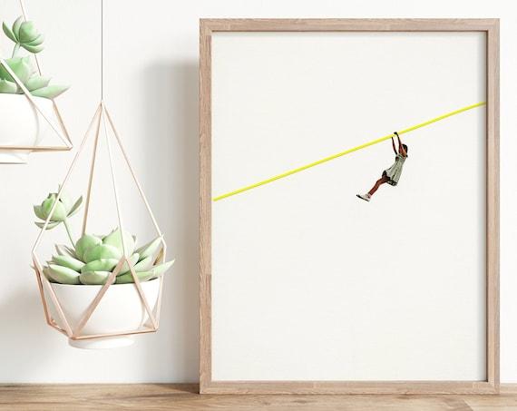 Child Portrait Minimalist Art Print - Zip Wire
