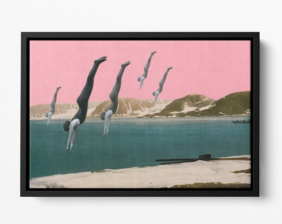 Float Framed Canvas, Mountain Wall Art, Pink Decor - Dive