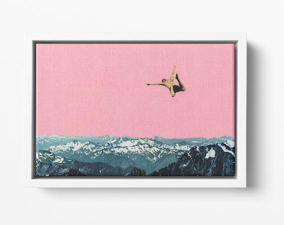 Float Framed Canvas, Mountain Wall Art, Pink Decor - Higher Than Mountains