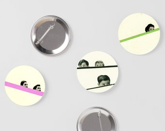 Funny Pins, Button Badge Set - Peekaboo
