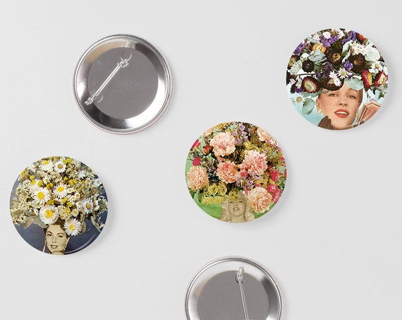 Retro Badges, Set of Three 25mm Button Badges - Floral Fashions