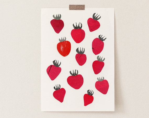 Strawberry Print, Kitchen Wall Decor, Gift for Foodie - Strawberries