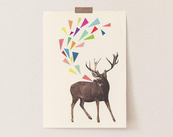 Deer Print, Stag Art, Gift for Music Lover - Singing Stag