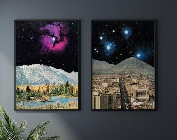 Space Print Set of 2, Celestial Decor, Sci Fi - Space