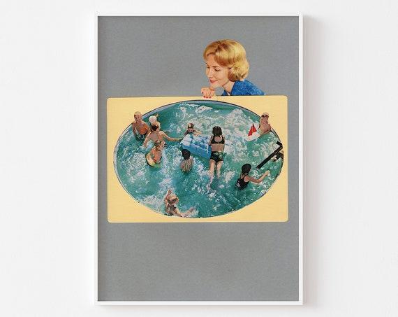 Swimming Pool Art, Surreal Print, Retro Wall Art - Bath Time