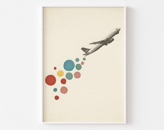 Retro Aeroplane Art Print - Leaving on a Jet Plane