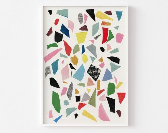Abstract Wall Art, Terrazzo Decor, Colourful Wall Art - White Terrazzo