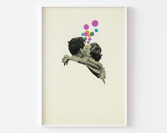 Romantic Art Print - First Kiss