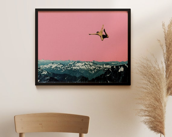 Framed Mountain Print, Pink Wall Art, Ready to Hang - Higher Than Mountains