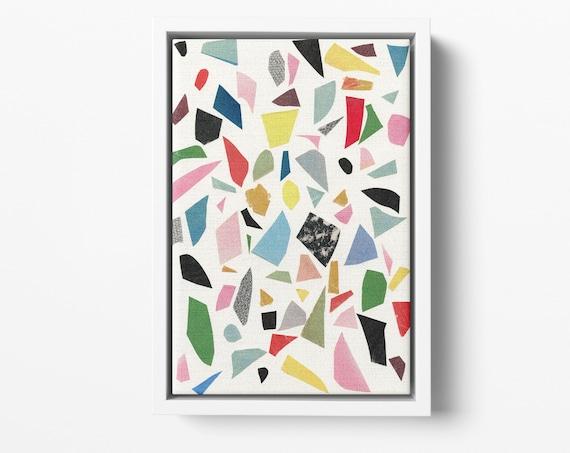 Float Framed Canvas, Terrazzo Wall Art, Wall Abstract Decor - White Terrazzo