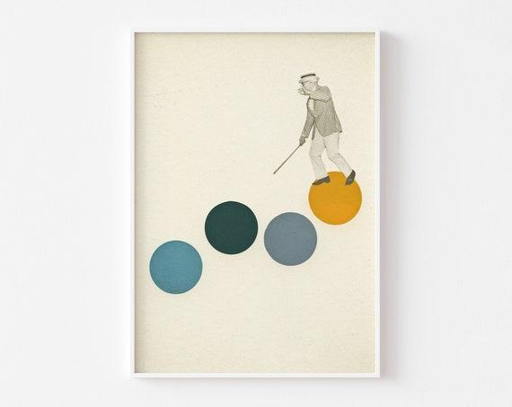 Tap Dance Print, Pop Art Poster, Collage Art Print, Yellow and Grey Decor - Tap Dancing
