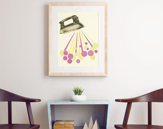 Laundry Room Art, Pop Art Poster, Mid Century Modern - Steamy