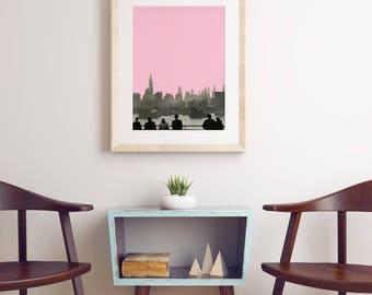 New York Skyline Print, Pink and Grey City Art - New York Nights