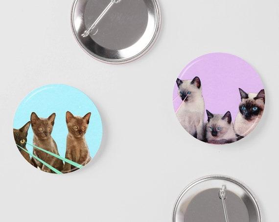 Cat Pins, Button Badge Set, Animal Badges - Kitsch Kittens