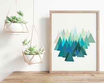 Blue Abstract Mountain Print - Cold Mountain