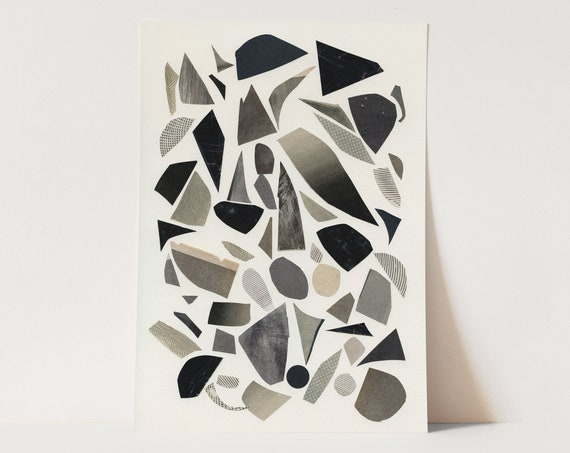 ORIGINAL COLLAGE, Black and White Abstract Collage, Paper Anniversary Gift - 012