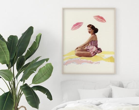 Beach Decor, Romantic Wall Art, Retro Bathroom Print - Be Mine