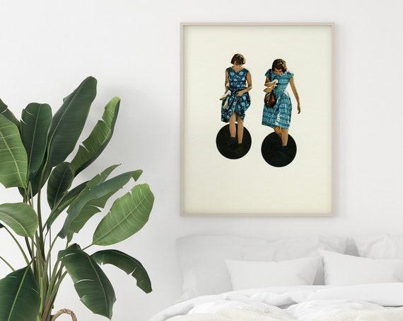 Portrait Print, Surreal Collage, Black and Blue Decor - Quicksand