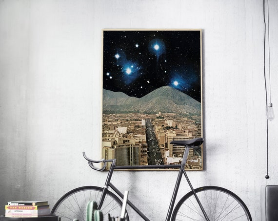 Space Art, Retro Sci Fi, Large Wall Art - Space City