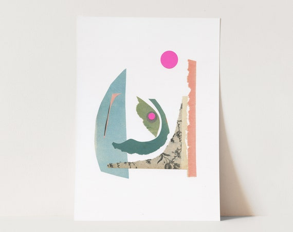 ORIGINAL COLLAGE, Contemporary Abstract Shape Art, Modern Paper Collage - 028