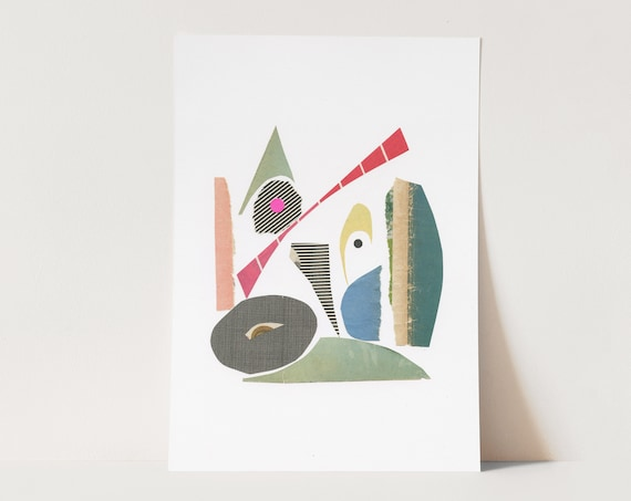 ORIGINAL COLLAGE, Modern Abstract Shape Art, Paper Collage - 031