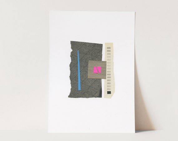 ORIGINAL COLLAGE, Grey and Hot Pink Abstract Shapes Art, Modern Paper Collage - 027