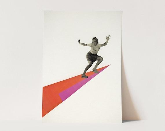 ORIGINAL COLLAGE, Vintage Sport Art, Ice Skating Gift - Skate the Day Away