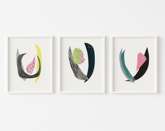 Abstract Print Set of 3, Anniversary Gift, Colourful Wall Art - Blooms