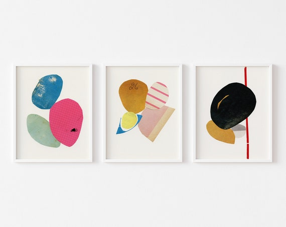 Abstract Print Set of 3, Mid Century Modern Wall Art - Abstract