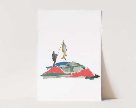 ORIGINAL COLLAGE, Mountain Lake Art - Little Landscapes