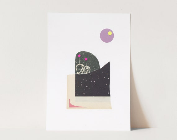 ORIGINAL COLLAGE, Space Collage, Abstract Paper Art - Space Children