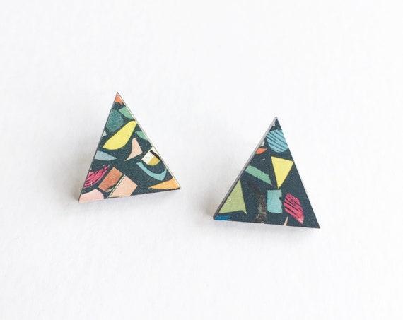 Terrazzo Earrings, Triangle Studs, Modern Earrings
