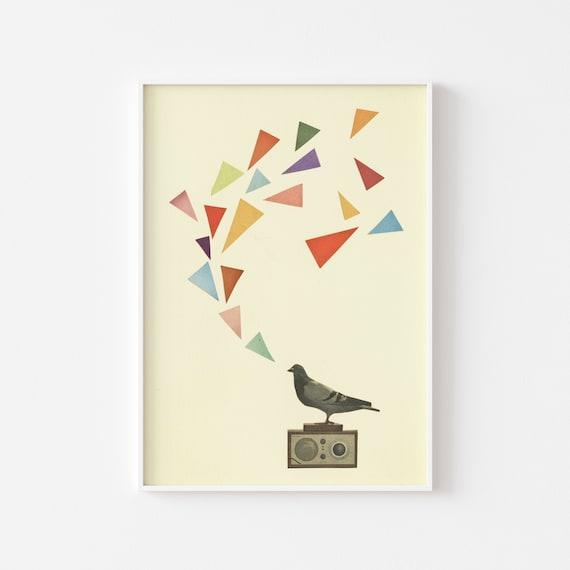Retro Bird Print, Pigeon Art, Geometric Decor - Pigeon Radio